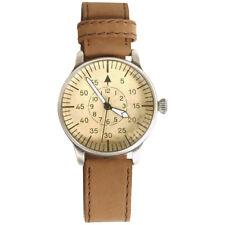 Military Mens Quartz Pilot Wrist Watch Vintage Look Brown Leather Strap Gift Box