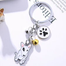 English Bull Terrier dog inspired petite key fob ring chain enamel Bull Terrier