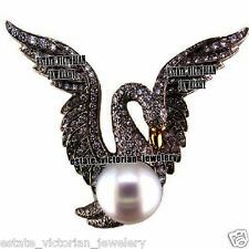 Vintage Style 5.88Cts Rose Cut Diamond Pearl Studded Silver Bird Brooch Jewelry