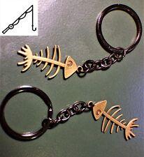FISH BONE Bronze Gun Metal Black Keychain Key Chain Fishing lightweight Gift