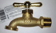 "Brass Garden Water Tap Faucet 3/4"" NPT Male Thread w/Hose Thread Rain Barrel NEW"