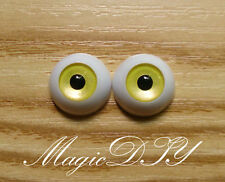 12mm Hand Made BJD Doll Eyes Pearlized Yellow Acrylic Half Ball