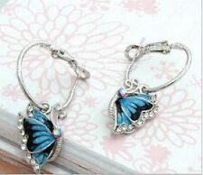 SMALL SILVER TONE DROP BLUE BUTTERFLY DIAMANTE RHINESTONE CRYSTALS  EARRINGS