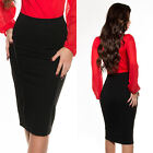 NEW SEXY PENCIL SKIRT w PIPING ACCENT - BLACK - SIZE 8 10 12 14 WORK/OFFICE WEAR