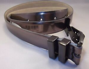 New Style & Co Patent Belt Medium XL Pewter Shiny Slim