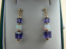 Art Deco style 9ct gold earrings with Opal & purple Tanzanite crystal cubes