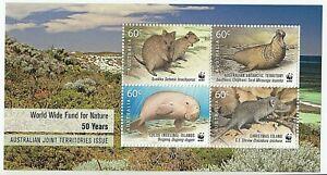 2011 AUSTRALIA MINI SHEET '50th ANNIVERSARY WWF' - BLOCK of 4 x 60c MNH STAMPS