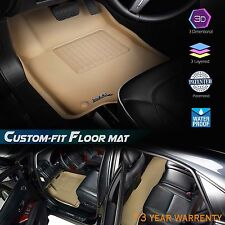 Maxpider 3D 3 Layered Carbon Fiber Custom Fit TOYOTA YARIS FloorLiner Set Tan