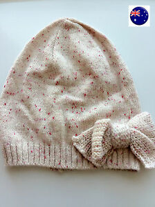 NEW Girl Child Pink H & M bow Warm Gorgeous Knit knitting Chic Beanies Hat Cap