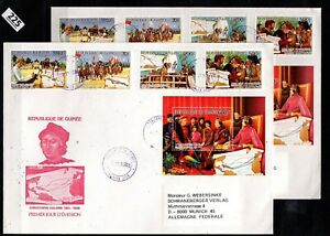 # GUINEA 1986 - 2 FDC - PERF+IMPERF - COLUMBUS, SHIPS