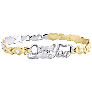 10K Yellow Gold Diamond Cut I Love You XOXO Hugs and Kisses Stampato Bracelet 8""
