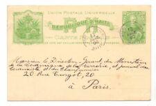 HAITI 1900 3c POSTAL CARD USED TO PARIS