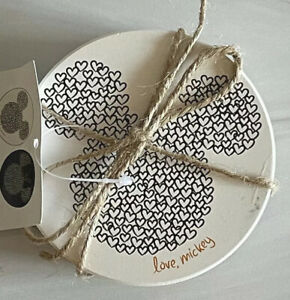 Disney Mickey Mouse Love, Mickey & Minnie Set Of 4 Ceramic Coasters w/ Cork Back