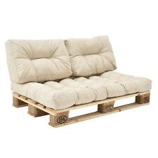 en.casa® Set de 3 cojines de asiento y respaldo para sofá-palé beige acolchado