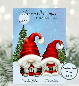 Personalised Christmas card  Gnome Couple Customable Christmas card Gonk couple