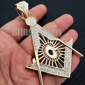 Hip Hop Freemason Masonic Compass Gold plated Lab Diamond Large Charm Pendant