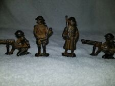 Antique GREY IRON Cast Iron Toy Soldier Kneeling Machine Gunner WW1 DOUGH BOY