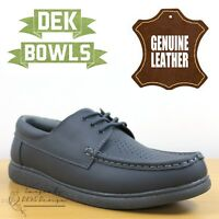 DEK Bowls Unisex Leather Lawn Bowls Trainers Grey Lace Up Men's & Women's Shoes