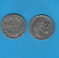 // 5 Francs argent Louis-Philippe Laurée Tranche en relief 1831 Limoges RARE