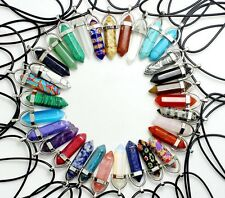 Genuine Leather Natural Reiki Chakra Healing Crystal Quartz Choker Necklace