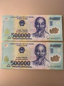 1 Million Vietnamese Dong. 2 X 500,000 Dong Banknotes. 2 Cir Vietnam Notes. Vnd