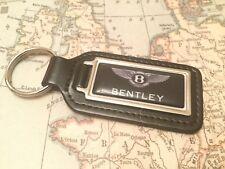 BENTLEY Quality Black Real Leather Keyring Oblong BLACK CONTINENTAL GT MULSANNE