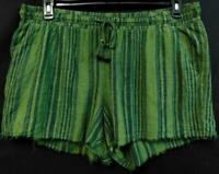 Time and tru green plus size striped tie up waist comfort stretch shorts XXL
