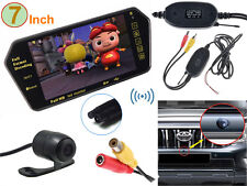 "Wireless Backup Reverse Camera +7"" MP5 Bluetooth LCD Car Rearview Mirror Monitor"