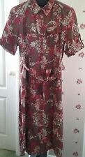 M&S beige/tan/red pattern floral linen safari shirt dress 18