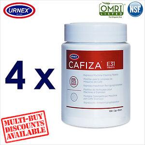 4 x Urnex CAFIZA E31 100 Cleaning Tablets Espresso Machine Cleaner Organic