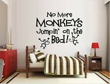 """No More Monkeys Jumping on the Bed! Vinyl Decal Home Décor 12"""" x 15"""""""