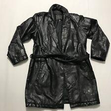 Navarre Italian Stone Design Shawl Collar Open Front Leather Coat Size Large