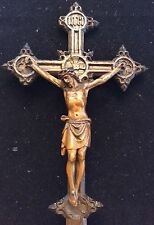 KRUZIFIX wohl 18. Jh., Holz Kreuz Eiche geschnitzt Corpus Jesus Christus 34 cm