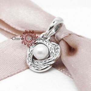 Pandora, S925 Luminous Love Knot, Pearl, Pendant Bracelet Charm NEW, 390401WCP
