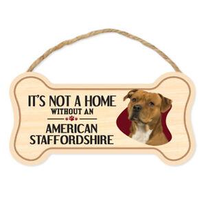 Hundeknochen Zeichen, Holz, Nicht Zuhause Ohne American Staffordshire Terrier,