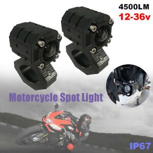Motorcycle Off-road LED Spot 4500LM White + Amber Hi/Low Light Driving Fog Lamps