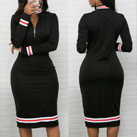 Women Long Sleeve Bodycon Dress Ladies V Neck Front Zip OL Party Slim Midi D  gt