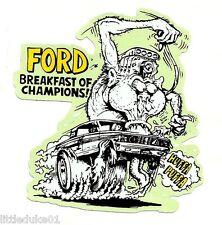 "FORD ""Breakfast Of Champions"" Sticker Decal RAT FINK Car Surfboard PANEL VAN UTE"