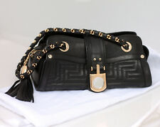 Authentic Versace Handbag, Petite Black Leather Tassel Goldtone Hardware