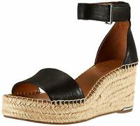 Franco Sarto Womens L-Clemens Leather Open Toe Casual Platform, Black, Size 6.5