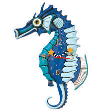 Allen Designs Salty Seahorse Pendulum Child's Kids Whimsical Wall Clock