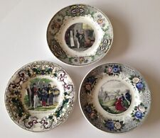 lot de 3 assiettes en porcelaine Polychrome Creil décor divers