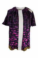 BALENCIAGA Silk Pink Black Graphic Print Blouse (FR 40)