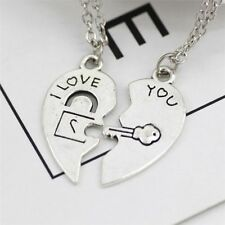 2Pcs/set Stainless Steel I Love You Lock Key Heart Pendant for Couple Necklace