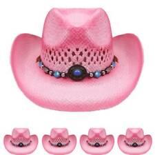 Cowboy KIDS HAT Pink Paper Straw WESTERN RODEO Cowboy Cowgirl HIGH QUALITY de15a1847dd