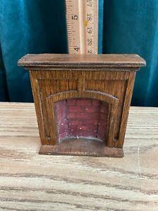 dollhouse miniature - brick & wood fireplace 1:12