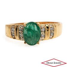 Estate Diamond Emerald 14K Gold Unique Ring NR