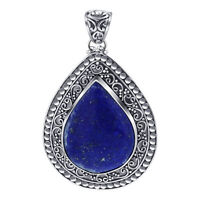 Bali-Inspired Filigree Design Pear Shape Blue Lapis Gemstone 925 Silver Pendant