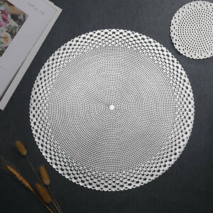 Silver Placemats & Coasters Round Vinyl Place Mat Kitchen Dining Table Wedding