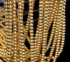 "3MM GOLD HEMATITE GEMSTONE GOLD ROUND 3MM LOOSE BEADS 16"""